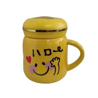 ماگ سرامیکی رنگ زرد مدل Hello