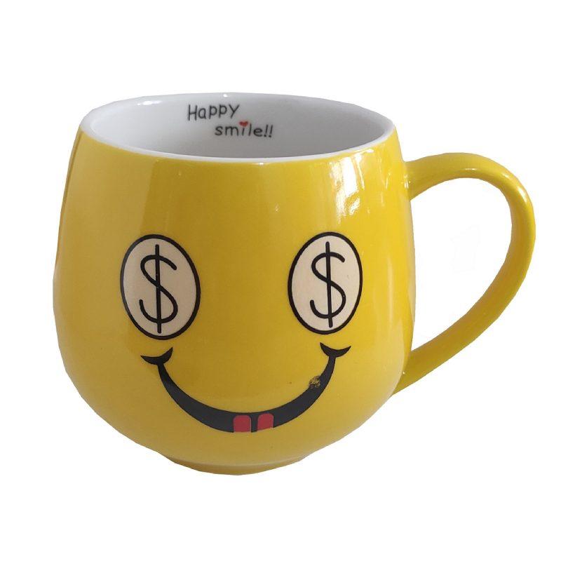ماگ سرامیکی زرد رنگ مدل happy کد 1046