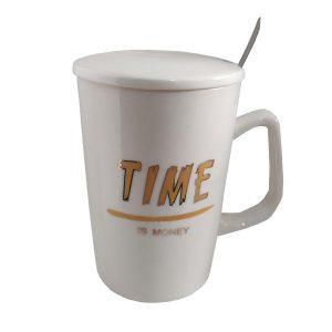 ماگ سرامیکی زیبا مدل Time کد 1030 رنگ سفید