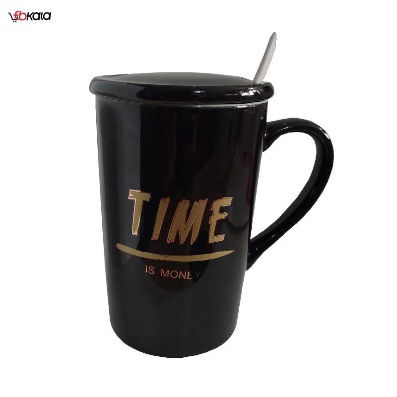 ماگ سرامیکی زیبا مدل Time کد 1030 رنگ مشکی