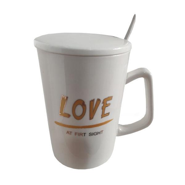 ماگ سرامیکی عاشقانه مدل LOVE کد 1029 رنگ سفید