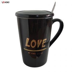 ماگ سرامیکی عاشقانه مدل LOVE کد 1029 رنگ مشکی