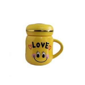 ماگ مدل LOVE سرامیکی زرد رنگ